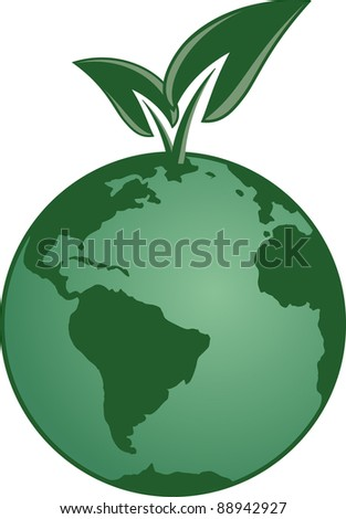 Planet with leaves growing from it - stock vector