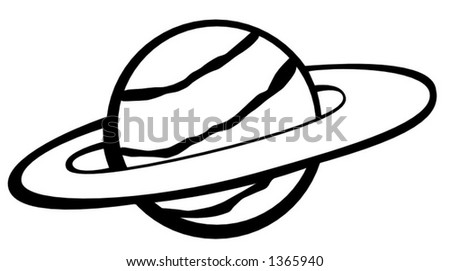 planet with rings - stock vector