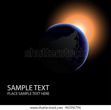 planet with sunrice in space