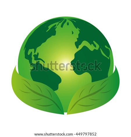Planet world green leaves leaf icon isolated vector illustration - stock vector