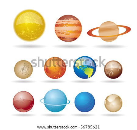 Planets and sun from our solar system. Vector illustration. - stock vector