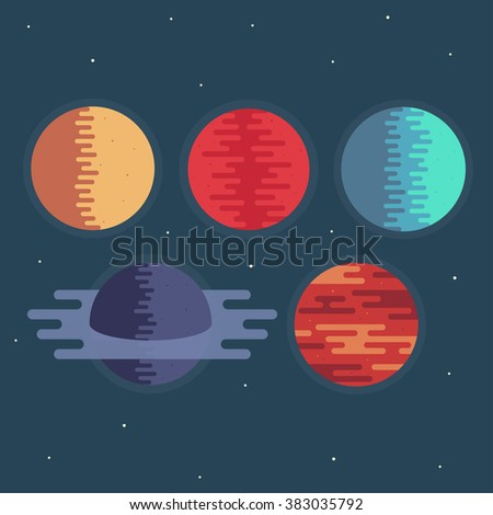 Planets in space. Planets vector illustration. Planets icon in flat style. Planets abstract. Planets trendy concept. Planets galaxy on dark background. Planets illustration.  - stock vector
