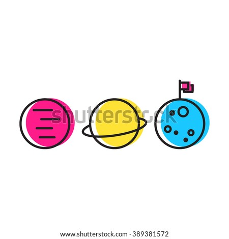 Planets mars, saturn, moon with flag icon flat vector on white background. - stock vector
