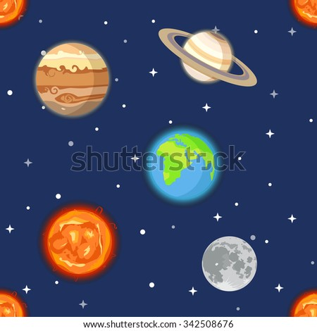 Planets of solar system seamless background - stock vector