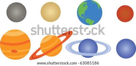 planets of the Solar System, illustration - stock vector