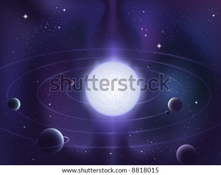 Planets orbiting around a bright white star