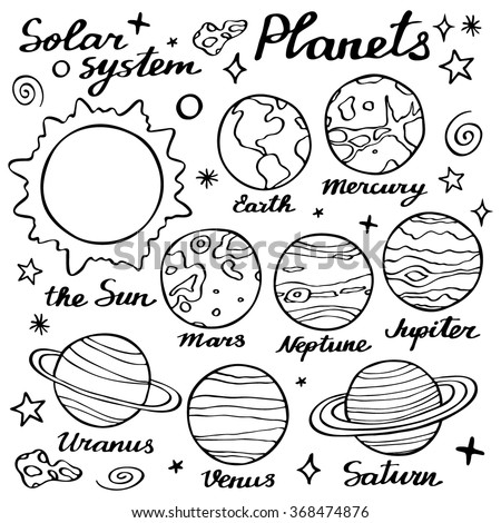 Planets set. Hand-drawn cartoon collection of solar system planets. Doodle drawing. Vector illustration - stock vector