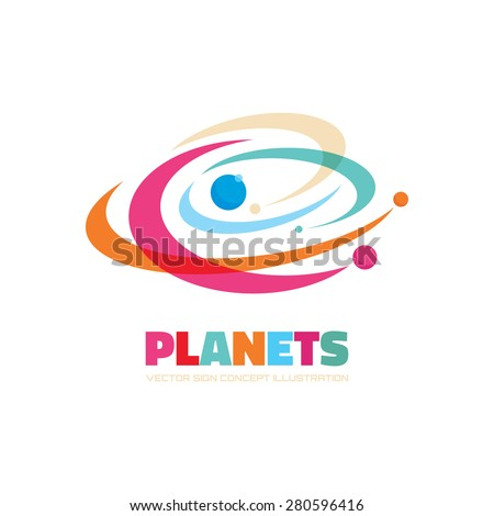 Planets - vector logo concept. Abstract space illustration. Solar system sign. Galaxy symbol. Design element. - stock vector