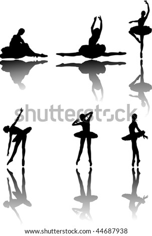 Planimetric figure of the ballerina, the basic, classical ballet positions - stock vector