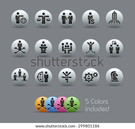 Planing Success and Business Strategies // Pearly Series ----- The Vector file includes 5 color versions for each icon in different layers ----- - stock vector