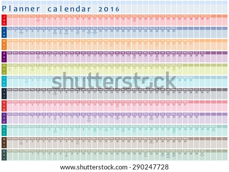Planner Calendar 2016 Holiday Days Posted Stock Vector 290247728
