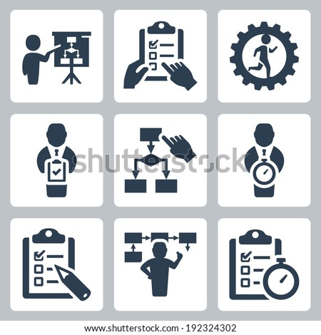 Planning and business strategy vector icons set - stock vector