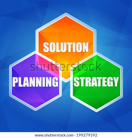 planning, solution, strategy - business growth concept words in color hexagons over blue background, flat design, vector - stock vector