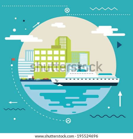 Planning Summer Vacation, Tourism and Journey Symbol Ocean Sea River Ship Travel Modern Flat Design Template Vector Illustration - stock vector