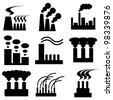 plant and factory icons vector set - stock vector