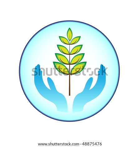 plant and hands - stock vector
