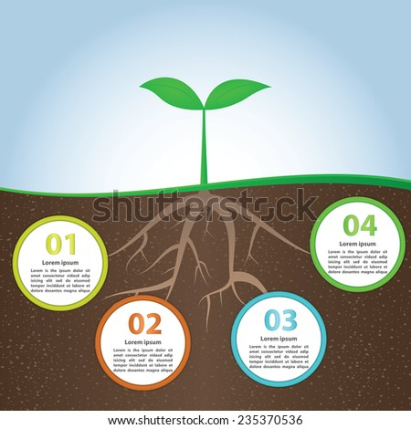 Plant And Root Infographic Background Design Template, VECTOR, EPS10 - stock vector