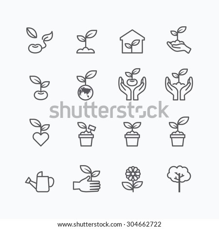 plant and sprout growing icons flat line design vector - stock vector