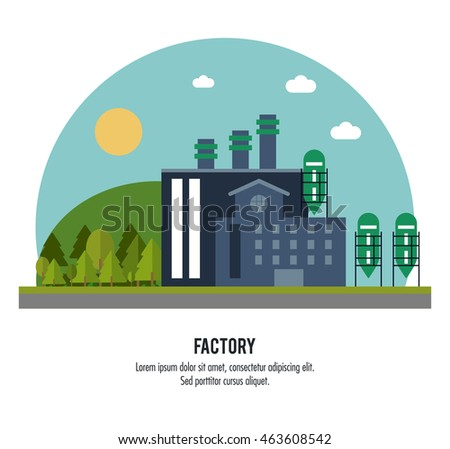 Plant circle trees sun building chimney factory industry icon. Flat and Colorfull illustration. Vector graphic