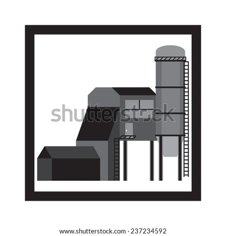 Plant, Factory. Vector Illustration - stock vector