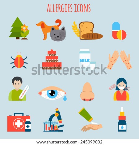 Plant fur wheat insect allergies icon set isolated vector illustration - stock vector