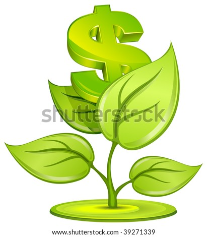 Plant growing currency with dollar sign on white background, vector illustration - stock vector