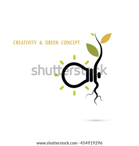Plant growing inside the light bulb logo.Green eco energy logo concept.Tree of Knowledge concept.Creative and green logo.Education and business concept.Vector illustration - stock vector