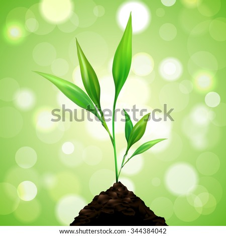 Plant grows from a pile of dirt on green background with blurred bokeh. Vector illustration. - stock vector
