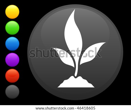 plant icon on round internet button original vector illustration 6 color versions included - stock vector