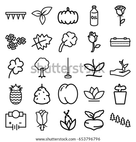 Plant icons set. set of 25 plant outline icons such as barn, berry, leaf, pumpkin, peach, beet, oil, pine tree, clover, plowing tool, hoe, flower, tree, rose, clover