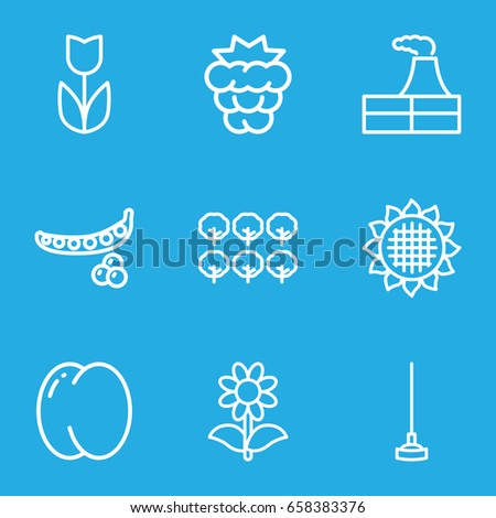 Plant icons set. set of 9 plant outline icons such as peach, mulberry, peas, sunflower, tree, factory, hoe