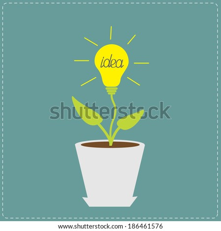 Plant in the pot with lamp bulb. Growing idea concept. Vector illustration. - stock vector