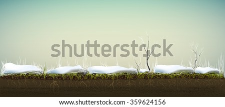 plant life under the snow, grass under the snow in February, Plant in hoarfrost  grow in soil in winter time, macro vector
