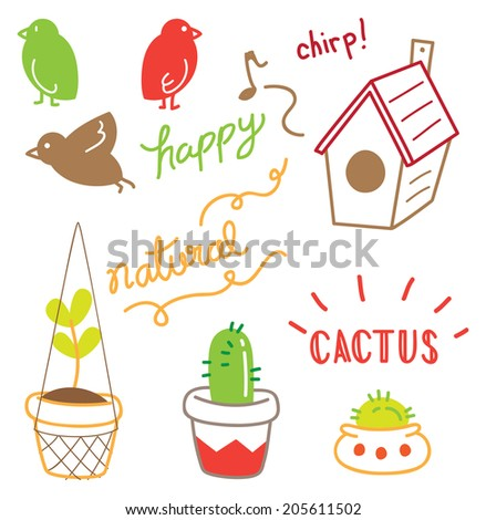 plant on pot with birds - stock vector