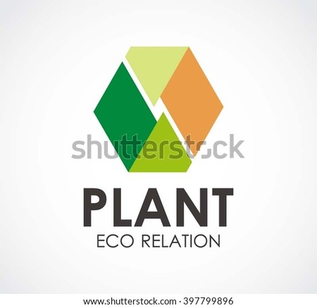 Plant relation of eco hexagon abstract vector and logo design or template nature group business icon of company identity symbol concept - stock vector