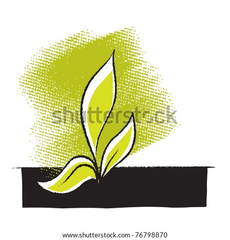 Plant seedling icon, freehand drawing, vector - stock vector