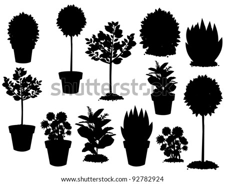 Plant Silhouettes A variety of potted and unpotted plants. EPS 8 vector, grouped for easy editing. No open shapes or paths. - stock vector