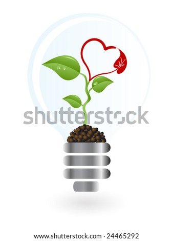 Plant with heart blossom in lightbulb