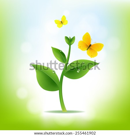 Plant With Nature Background With Gradient Mesh, Vector Illustration - stock vector