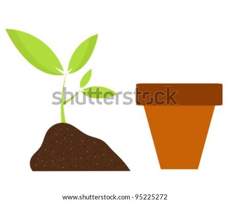 Planting flower in pot. Gardening vector illustration - stock vector