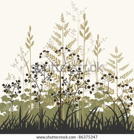 Plants and grasses background, floral background. Full scalable vector graphic, change colors as you like. - stock vector