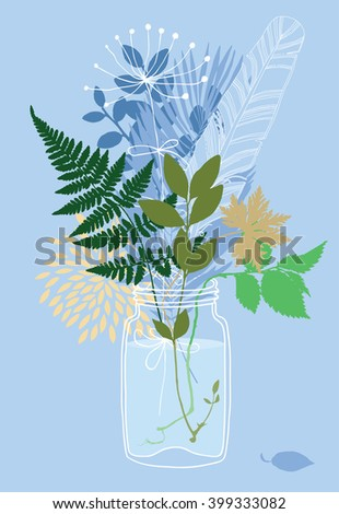 Plants in a glass jar - stock vector
