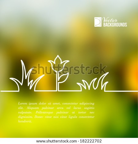 Plants of lines on a green background - stock vector