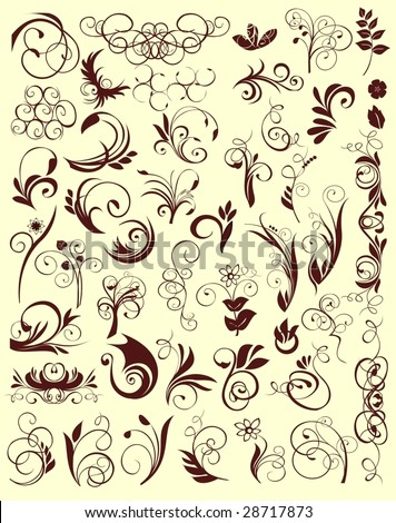 planty of plant ornaments - stock vector
