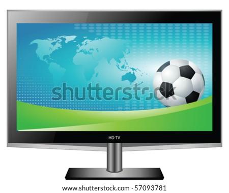 Plasma HD TV White Screen with Football Illustration Vector Clip Art - stock vector