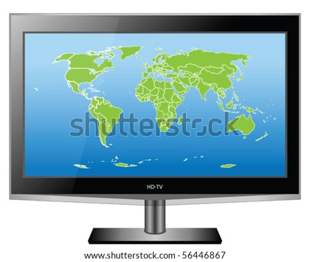 Plasma HD TV with World map vector - stock vector