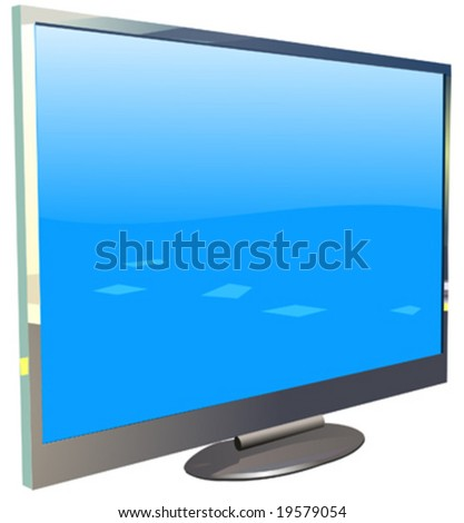 Plasma or lcd tv with reflection - stock vector