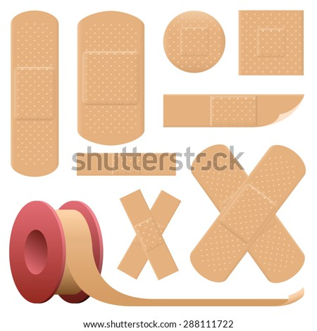 Plaster collection - various realistic looking adhesive bandages - very detailed, such as three-dimensional holes of breathable fabric. Isolated vector illustration on white background. - stock vector