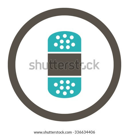 Plaster vector icon. Style is bicolor flat rounded symbol, grey and cyan colors, rounded angles, white background.