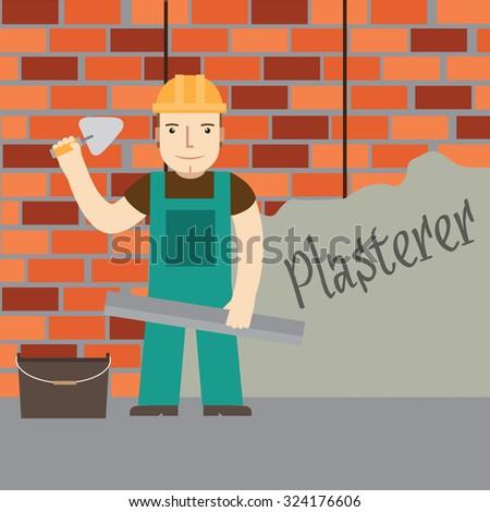 Plasterer worker. Vector. - stock vector